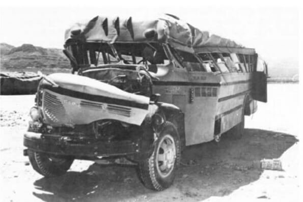 wrecked bus